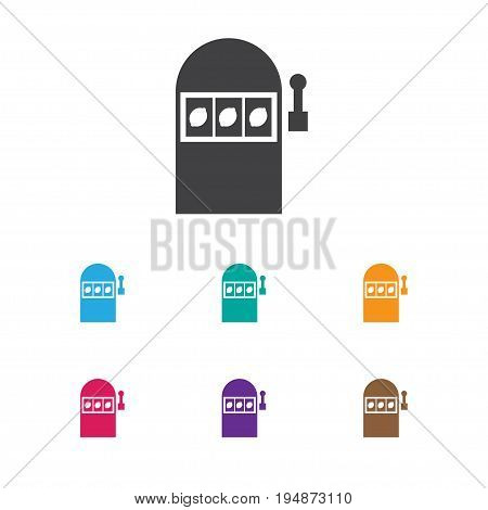 Vector Illustration Of Business Symbol On Slot Machine Icon. Premium Quality Isolated Jackpot Element In Trendy Flat Style.