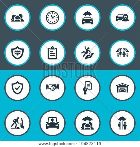 Vector Illustration Set Of Simple Fuse Icons. Elements Safeguard, Team, Car Thief And Other Synonyms Safe, Fuse And Insured.