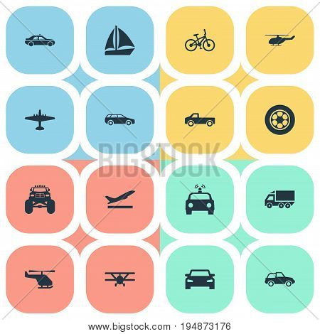 Vector Illustration Set Of Simple Transportation Icons. Elements Small Automobile, Tire And Other Synonyms Taxi, Wheel And Tire.