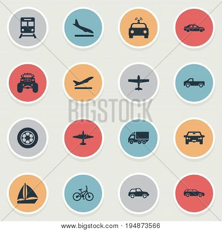 Vector Illustration Set Of Simple Shipment Icons. Elements Airliner, Small Automobile, Downgrade And Other Synonyms Convertible, Aircraft And Boat.