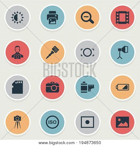 Vector Illustration Set Of Simple Photography Icons. Elements Apparatus Photographer, Cameraperson, Flame Instrument And Other Synonyms Removal, Frame And Memory.