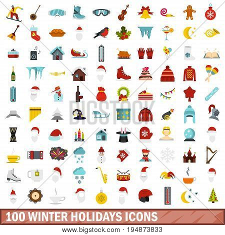 100 winter holidays icons set in flat style for any design vector illustration