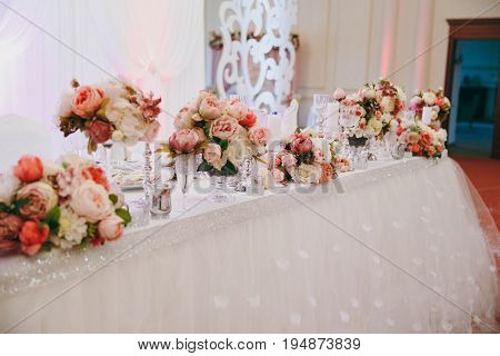 Decoration Of Tables At The Wedding