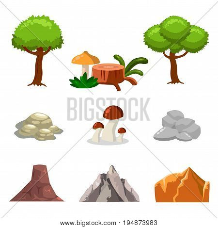 Cartoon nature landscape elements set, trees, stones and grass clip art, isolated on white background. Flat cartoon style. Vector illustration.