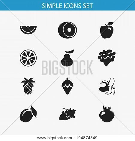 Set Of 12 Editable Berry Icons. Includes Symbols Such As Sugar Basin, Lemon, Duchess And More. Can Be Used For Web, Mobile, UI And Infographic Design.