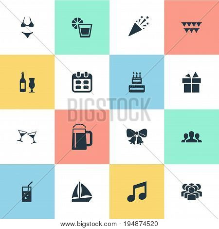 Vector Illustration Set Of Simple Party Icons. Elements Wineglasses, Tone, Date And Other Synonyms Term, Lemon And Company.