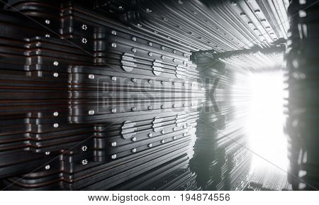 futuristic concept composition with metal plates and motion light