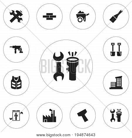 Set Of 12 Editable Structure Icons. Includes Symbols Such As Apartment, Power Plants, Scull And More. Can Be Used For Web, Mobile, UI And Infographic Design.