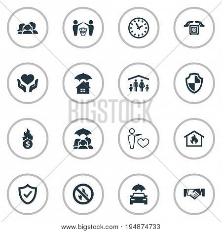 Vector Illustration Set Of Simple Insurance Icons. Elements Home Protect  From Fire, Automobile, Protection And Other Synonyms Strongbox, Male And Partnership.