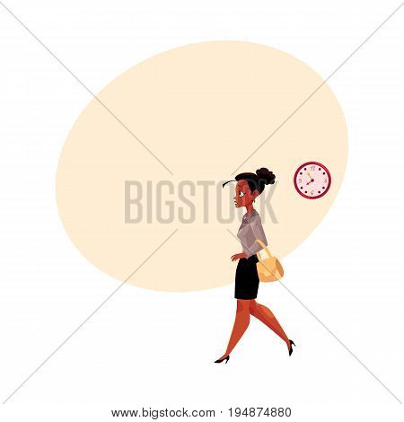 Young black, African American businesswoman hurrying, being late to work, feeling nervous, cartoon vector illustration with space for text. . Black businesswoman hurrying to work in the morning