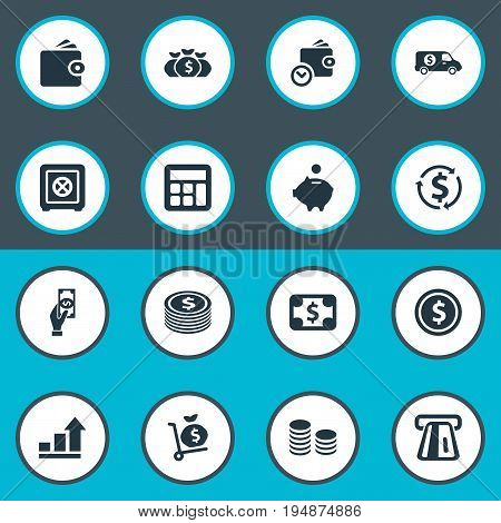 Vector Illustration Set Of Simple Money Icons. Elements Growth, Wallet, Wealth And Other Synonyms Interest, Safe And Atm.
