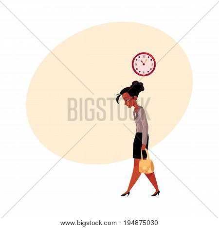 Tired black, African American businesswoman, going home after work, clock showing time, cartoon vector illustration with space for text. Black businesswoman sad, tired, going home from work