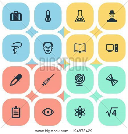 Vector Illustration Set Of Simple Knowledge Icons. Elements Researcher, Globe, Helix And Other Synonyms Engendering, Geography And Pipette.