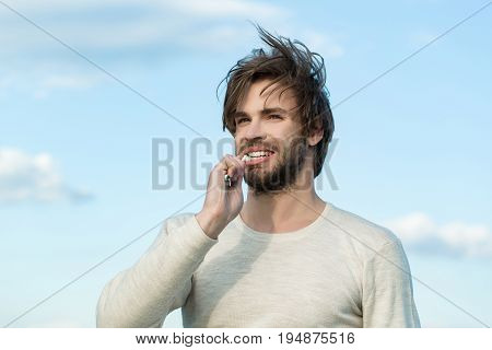 Happy Man Brush Teeth With Toothpaste On Blue Sky, Metrosexual