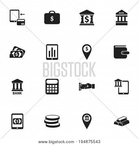 Set Of 16 Editable Investment Icons. Includes Symbols Such As Purse, Market, E-Commerce And More. Can Be Used For Web, Mobile, UI And Infographic Design.