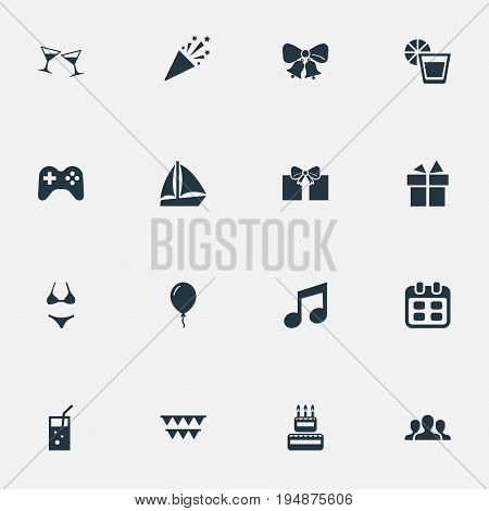 Vector Illustration Set Of Simple Banquet Icons. Elements Garland, Sail Yacht, Lemonade Synonyms Calendar, Sailboat And Bells.