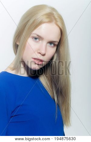 Girl With No Makeup On Face And Blond Long Hair