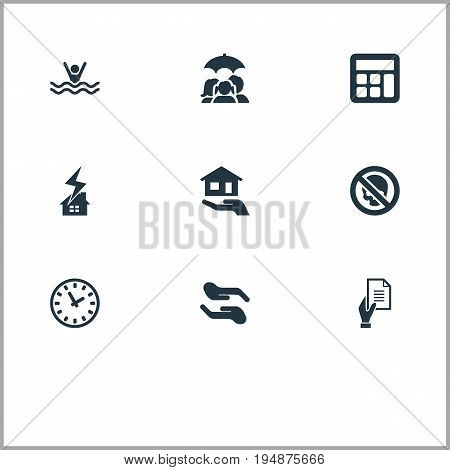Vector Illustration Set Of Simple Warrant Icons. Elements Chronometr, Accounting, Danger And Other Synonyms Upkeep, Clock And Estate.