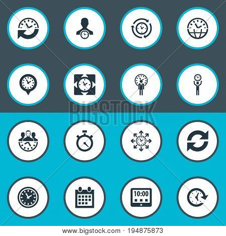 Vector Illustration Set Of Simple Management Icons. Elements Refresh, Administrator, Velocity And Other Synonyms Productivity, Administrator And Management.