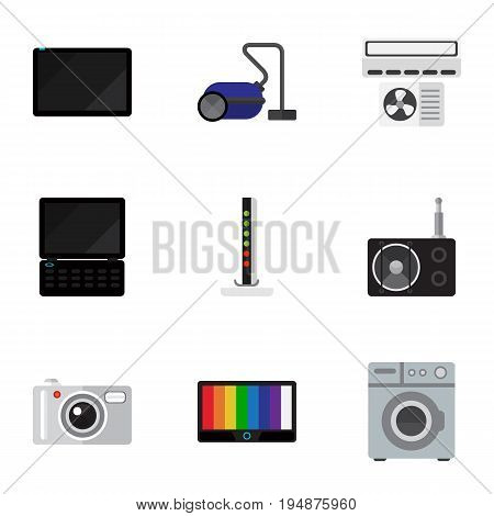 Set Of 9 Editable Home Icons. Includes Symbols Such As Sweeper, Modem, Palmtop And More. Can Be Used For Web, Mobile, UI And Infographic Design.