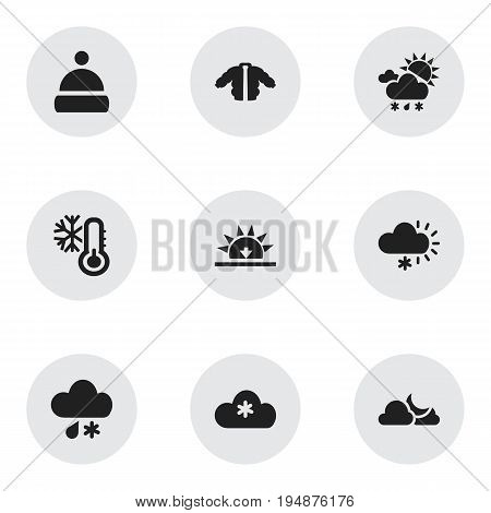 Set Of 9 Editable Air Icons. Includes Symbols Such As Sunset, Frosty, Cap And More. Can Be Used For Web, Mobile, UI And Infographic Design.