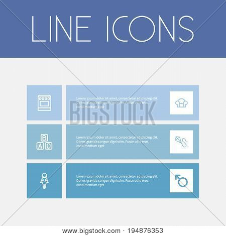 Set Of 6 Editable Kin Icons. Includes Symbols Such As Mom, Blocks, Man Symbol And More. Can Be Used For Web, Mobile, UI And Infographic Design.