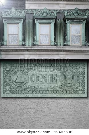 Abstract photo of building with three windows and US dollar bill on facade wall