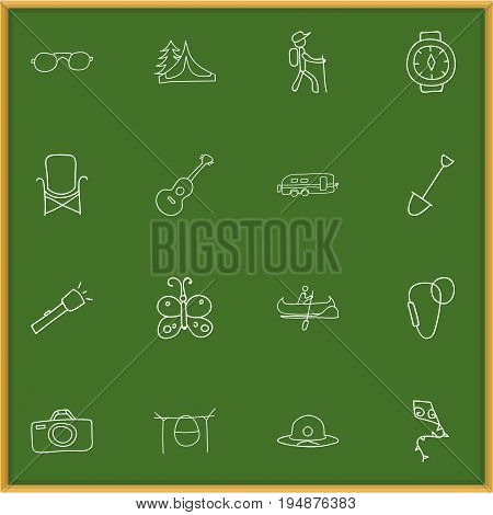 Set Of 16 Editable Travel Icons. Includes Symbols Such As Carabine, Photographing, Musical Instrument And More. Can Be Used For Web, Mobile, UI And Infographic Design.