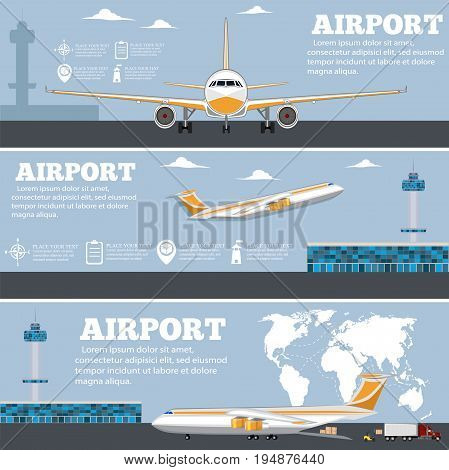 Airport poster set with airplane. Commercial air shipment, fast freight delivery, global cargo transportation. Worldwide tourist and business flights, airline vector illustration.
