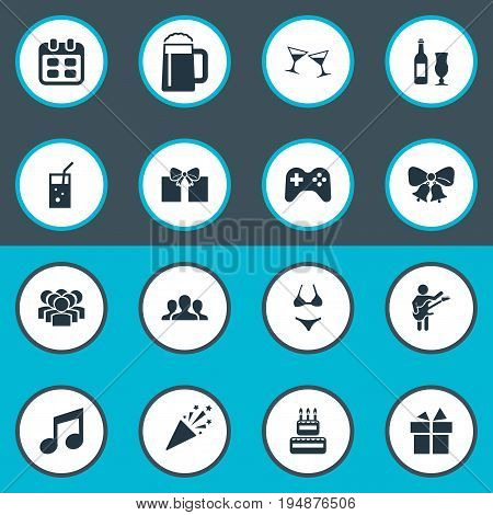 Vector Illustration Set Of Simple Celebration Icons. Elements Tone, Wine, Carbonated Drink And Other Synonyms Mug, Symbol And Music.