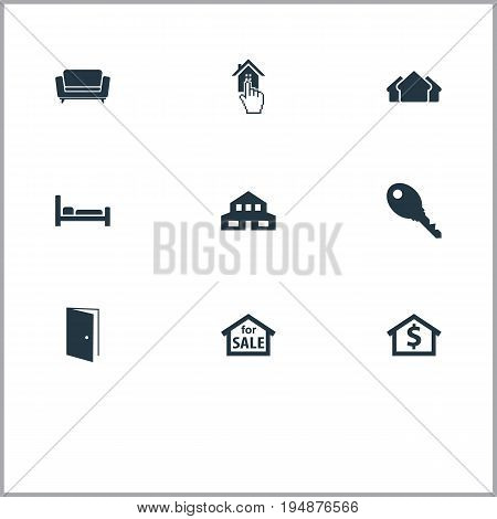 Vector Illustration Set Of Simple Real Icons. Elements Choose, Capital, Structure And Other Synonyms Settee, Structure And House.