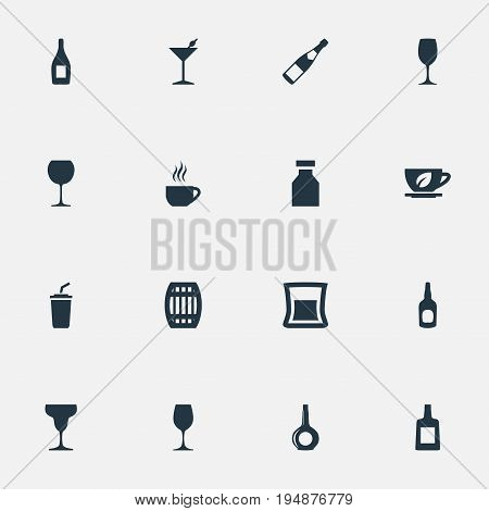 Vector Illustration Set Of Simple Drinks Icons. Elements Cocktail, Tumbler, Glassware And Other Synonyms Wineglass, Cask And Barrel.