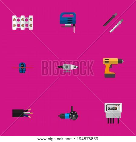 Set Of 9 Editable Electric Icons. Includes Symbols Such As Screwdriver, Electric, Jig Saw And More. Can Be Used For Web, Mobile, UI And Infographic Design.
