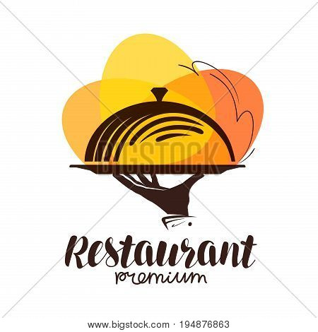 Restaurant logo. Icon or symbol for the menu design eatery, canteen or cafe. Vector illustration isolated on white background