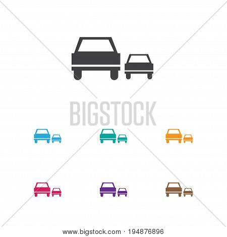 Vector Illustration Of Transport Symbol On Overtaking Icon. Premium Quality Isolated Race Element In Trendy Flat Style.