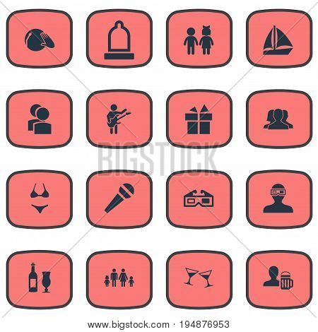 Vector Illustration Set Of Simple Party Icons. Elements Partners, Surprise, Rubber And Other Synonyms Users, Dinner And Dj.