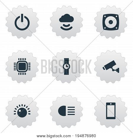 Vector Illustration Set Of Simple Technology Icons. Elements Cloud Signal, Hand Clock, Woofer Synonyms Main, Button And Security.
