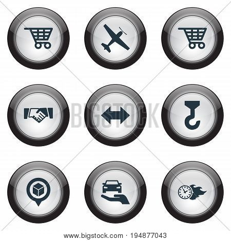 Vector Illustration Set Of Simple Logistics Icons. Elements Cart, Protect Car, Two Directions And Other Synonyms Retail, Trolley And Lef.