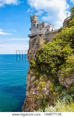 Swallow's Nest castle on the rock over the Black Sea in Crimea, Russia. This castle is a symbol of Crimea.