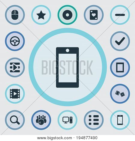 Vector Illustration Set Of Simple Game Icons. Elements Device, Dvd, Tasks And Other Synonyms Cards, Done And Gadget.