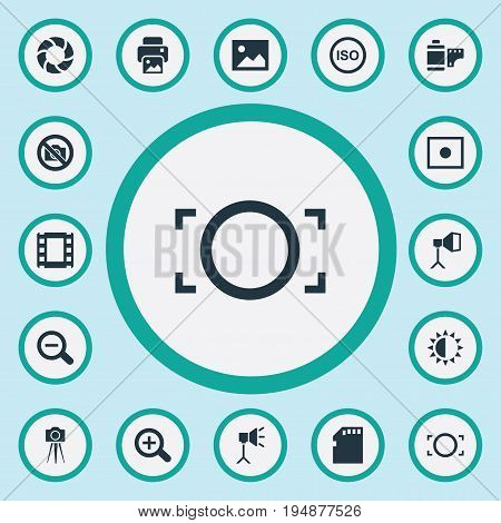 Vector Illustration Set Of Simple Photographic Icons. Elements Magnifying, Memory Card, Film Strip And Other Synonyms Brilliance, Brightness And Optical.