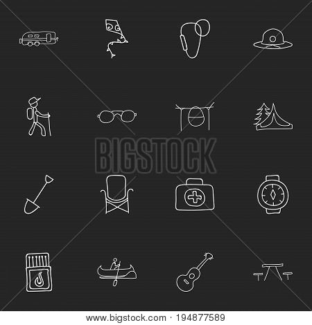 Set Of 16 Editable Camping Icons. Includes Symbols Such As Wrist Clock, Campfire Cooking, Shovel And More. Can Be Used For Web, Mobile, UI And Infographic Design.