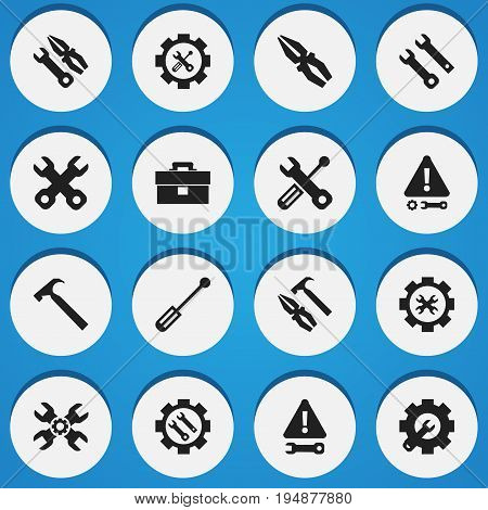 Set Of 16 Editable Tool Icons. Includes Symbols Such As Screwdriver, Handle Hit, Settings. Can Be Used For Web, Mobile, UI And Infographic Design.