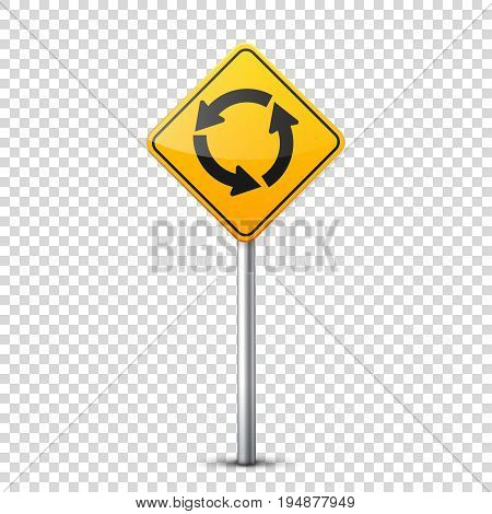 Road yellow signs collection isolated on transparent background. Road traffic control.Lane usage.Stop and yield. Regulatory signs. Curves and turns.
