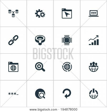 Vector Illustration Set Of Simple Search Icons. Elements Database Distribution, Power Button, Password And Other Synonyms Chain, World And Motherboard.