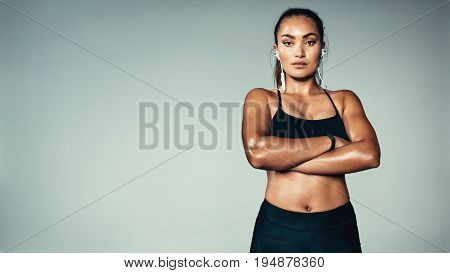 Fitness Woman Standing Confidently