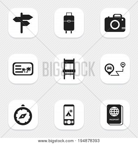 Set Of 9 Editable Holiday Icons. Includes Symbols Such As Invitation, Stool, Passport And More. Can Be Used For Web, Mobile, UI And Infographic Design.