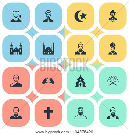 Vector Illustration Set Of Simple Religion Icons. Elements Pontiff, Chaplain, Muslim And Other Synonyms Man, Bald And Monk.