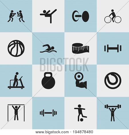 Set Of 16 Editable Active Icons. Includes Symbols Such As Strength, Street Workout, Crossbar And More. Can Be Used For Web, Mobile, UI And Infographic Design.