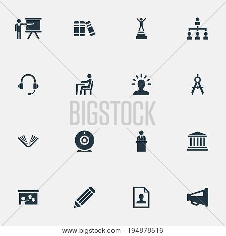 Vector Illustration Set Of Simple Speaker Icons. Elements Encyclopedia, Imagination, Announcement And Other Synonyms Camera, Imagination And Speaker.